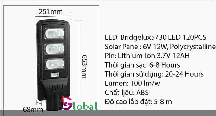 đèn đường năng lượng mặt trời 60w